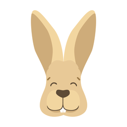 Rabbit bunny ear muzzle happy flat sticker