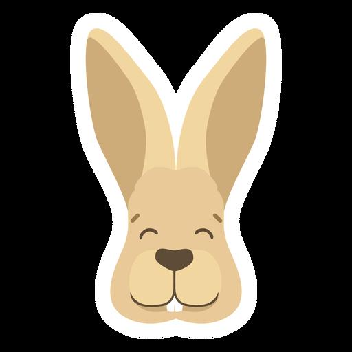 Rabbit bunny ear muzzle happy flat sticker Transparent PNG