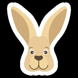 Etiqueta engomada plana de la cabeza del bozal de la oreja del conejito del conejo