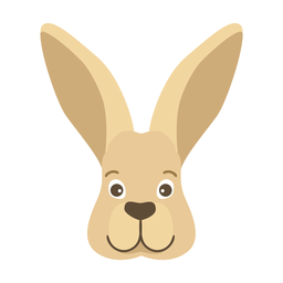 Rabbit bunny ear muzzle head flat sticker