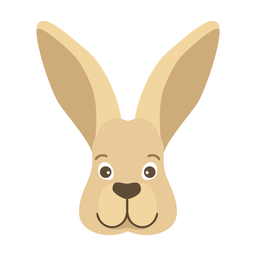 Rabbit bunny ear muzzle head flat sticker Transparent PNG