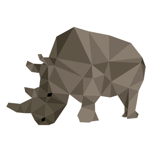 Rhino fat rhinoceros horn low poly Transparent PNG