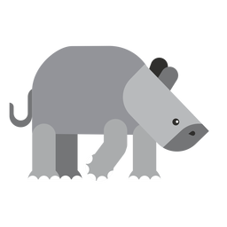 Nashorn Nashorn Fett Schwanz flach abgerundet geometrisch