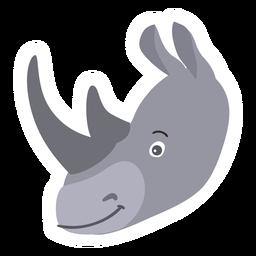 Pegatina plana cuerno rinoceronte rinoceronte