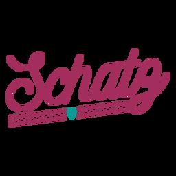 Schatz alemán texto corazón etiqueta