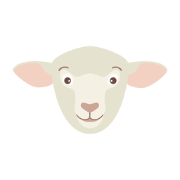 Sheep head wool lamb flat sticker