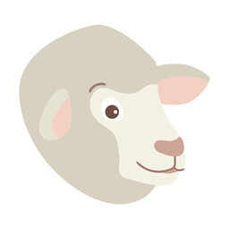 Sheep wool lamb flat sticker