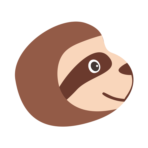 Sloth muzzle head flat sticker Transparent PNG