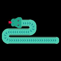 Reptil serpiente lengua bifurcada torciendo larga plana redondeada geométrica