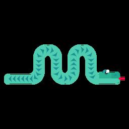 Reptil serpiente lengua bifurcada torciendo largo plano redondeado geométrico