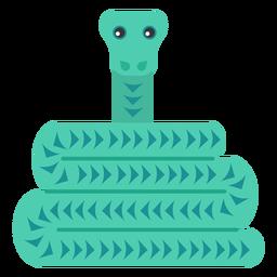 Reptil serpiente torcido largo plano redondeado geométrico