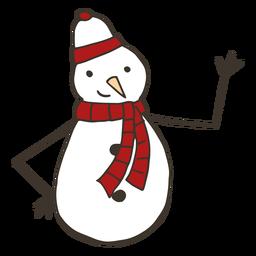 Boneco de neve cenoura chapéu ramo botão cachecol esboço