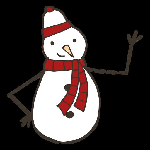 Boneco de neve cenoura chapéu ramo botão cachecol esboço Transparent PNG