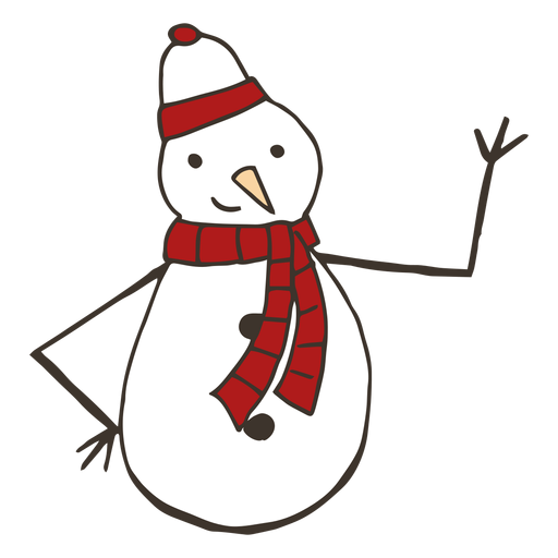 Muñeco de nieve zanahoria sombrero rama botón bufanda dibujo Transparent PNG