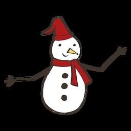Muñeco de nieve sombrero zanahoria rama botón bufanda dibujo