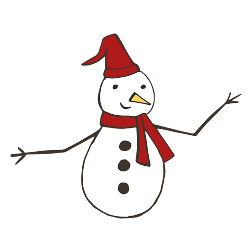 Snowman hat carrot branch button scarf sketch Transparent PNG