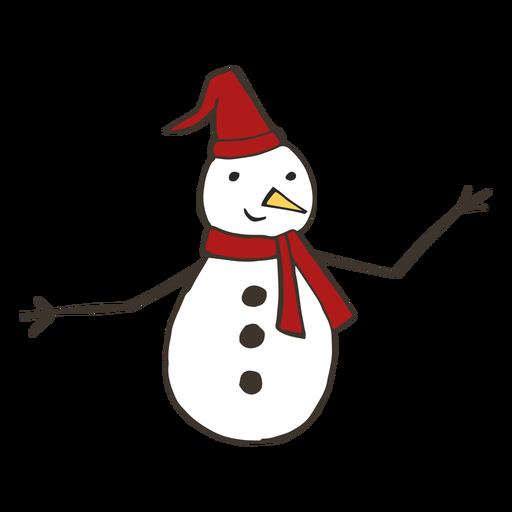 Snowman hat carrot branch button scarf sketch
