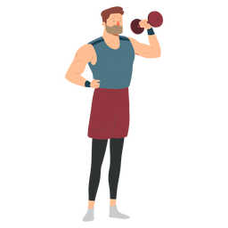 Pantalones cortos pesa mancuerna deportista deportista planos