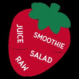 Morango suco smoothie salada cru plana
