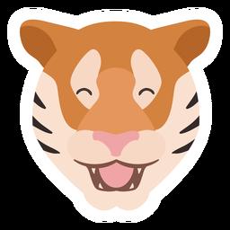 Etiqueta engomada plana cabeza raya feliz tigre