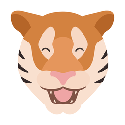 Tiger happy stripe head flat sticker