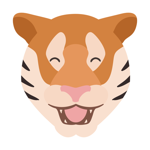 Adesivo de cabeça feliz listra tigre plana Transparent PNG