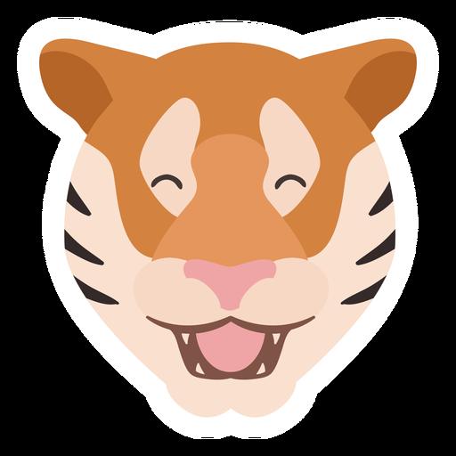 Flacher Aufkleber des glücklichen Streifenkopfers des Tigers Transparent PNG