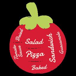 Ensalada seca de tomate pizza al horno sándwich guacamole salsa de tomate plana