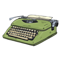 Typewriter button typing illustration