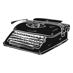 Silhueta de digitação de botão de máquina de escrever