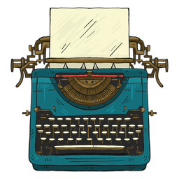 Máquina de escribir botón de papel escribiendo ilustración