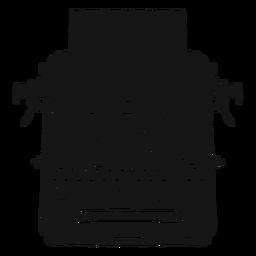 Silhueta de digitação de botão de papel de máquina de escrever