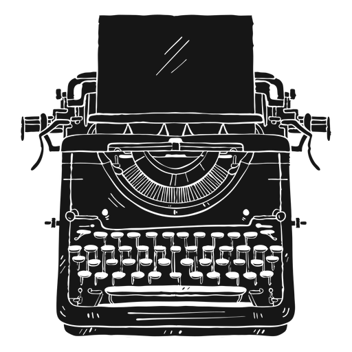 Typewriter paper button typing silhouette Transparent PNG