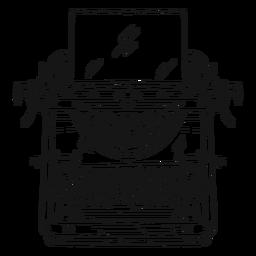 Botón de máquina de escribir que escribe movimiento