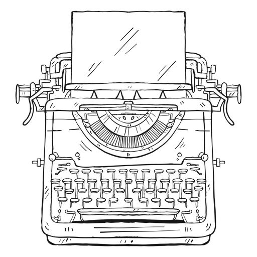 Typewriter paper button typing stroke Transparent PNG