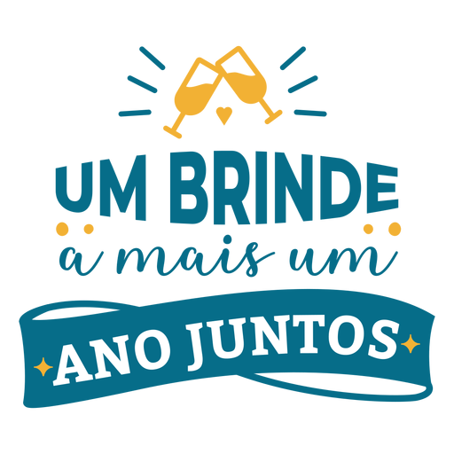 Um brinde a mais um ano juntos portuguese text glass heart sticker Transparent PNG