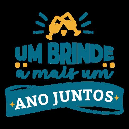 Um brinde a mais um ano juntos texto en portugu?s coraz?n de vidrio pegatina