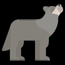 Uivo de lobo cauda de predador plana geométrica arredondada