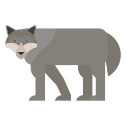 Lobo depredador cola plana redondeada geométrica.