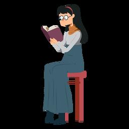 Mulher, cadeira, livro, saia, polo, pescoço, óculos, apartamento