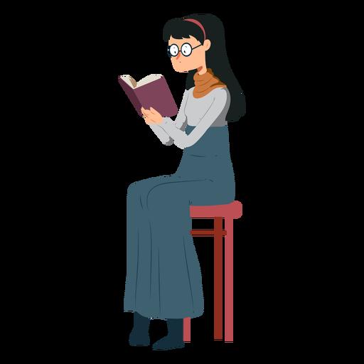 Mulher, cadeira, livro, saia, polo, pescoço, óculos, apartamento Transparent PNG