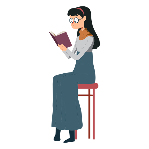 Woman chair book skirt polo neck glasses flat Transparent PNG