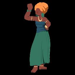 Mujer peinado top falda joyas planas