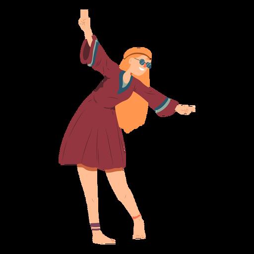 Mulher hippie óculos penteado feliz vestido liso Transparent PNG