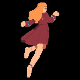 Óculos de hippie mulher correndo penteado vestido liso