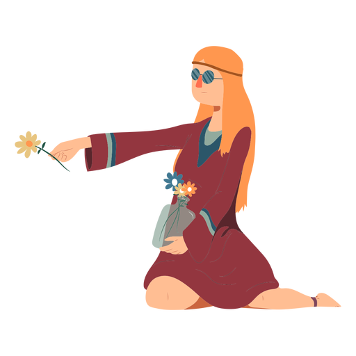 Mulher, hippie, óculos, sentando, flor, penteado, vestido, apartamento Transparent PNG