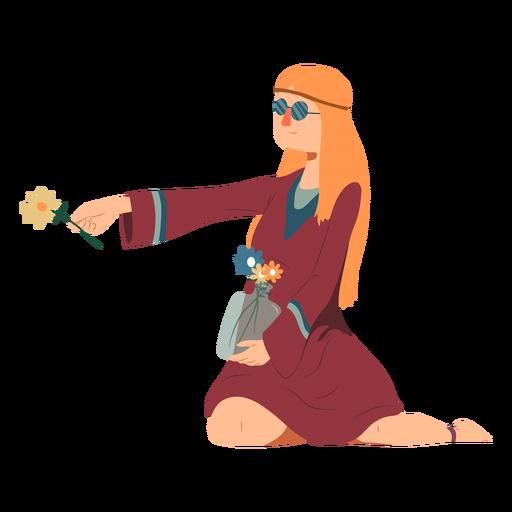 Mulher hippie com óculos sentado flor penteado vestido liso