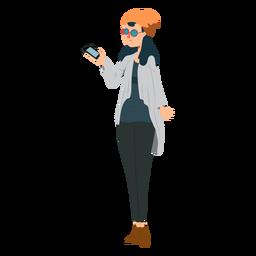 Mujer telefono gafas gafas sombrero chaqueta plana