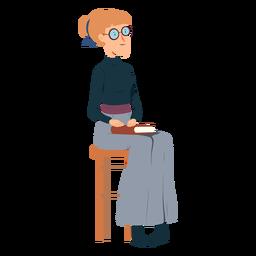 Mujer polo cuello falda libro gafas silla plana
