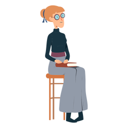 Woman polo neck skirt book glasses chair flat